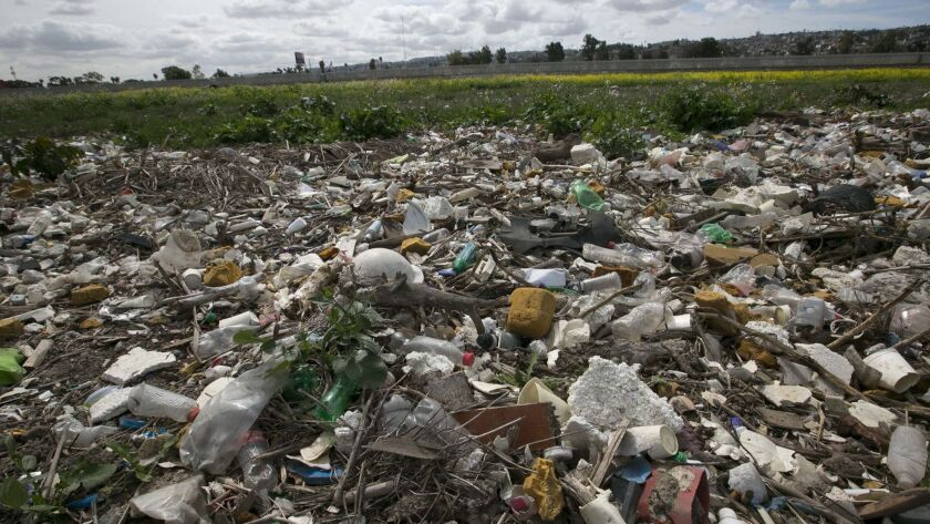 Cross-border pollution from Tijuana includes toxic chemicals and raw sewage along with debris.