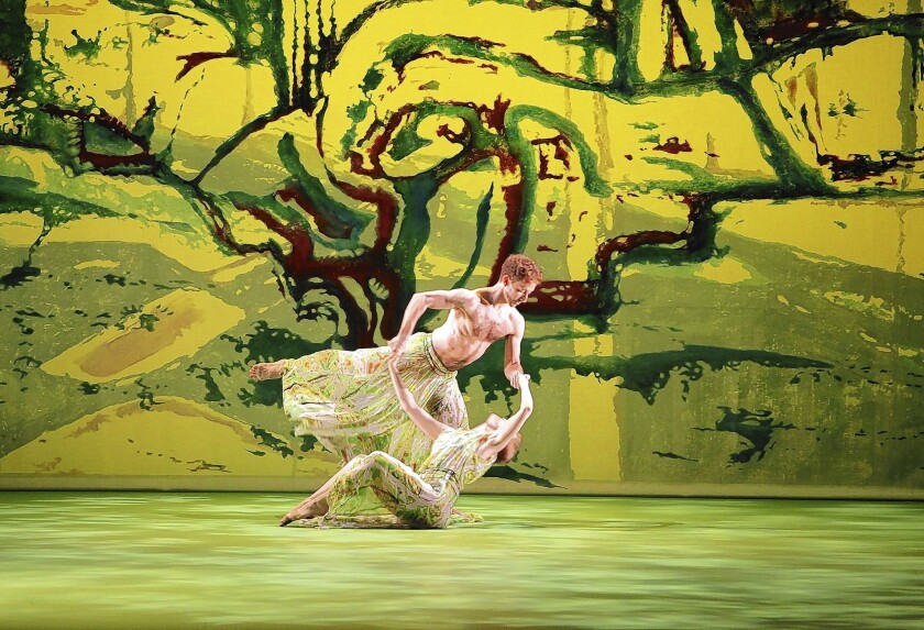 """Aaron Loux and Chelsea Lynn Acree of Mark Morris Dance Group and Music Ensemble perform """"Acis and Galatea"""" at Zellerbach Hall at UC Berkeley."""