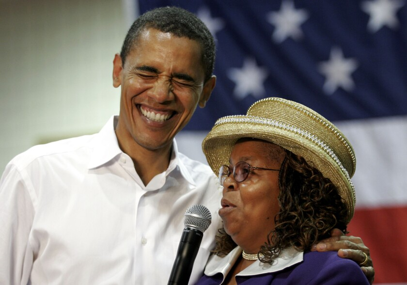 """Barack Obama with Greenwood County Councilwoman Edith Childs in South Carolina in 2007. Childs, whose """"Fired up! Ready to go!"""" chant became a camapign staple, will attend Obama's final State of the Union address Tuesday."""