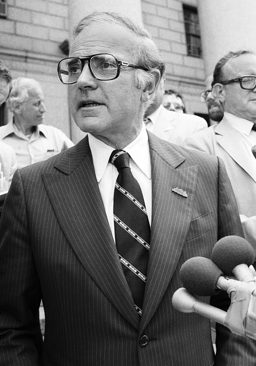 FILE - In this Sept. 3, 1980 file photo, Rep. John Murphy speaks to reporters in New York prior to his Federal Court appeals appearance, where he was under indictment in the Abscam case. Murphy, who represented Staten Island for 18 years before being caught in the Abscam corruption scandal in the late 1970s, died of a heart attack at Richmond University Medical Center on Monday, May 25, 2015, his son, John Murphy Jr., told The Associated Press on Tuesday. He was 88. (AP Photo/David Bookstaver, File)