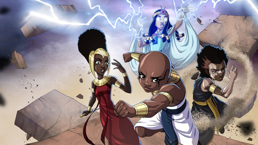 """Characters prepare to do battle in a scene from the comic series """"Black Sands: The Seven Kingdoms"""""""