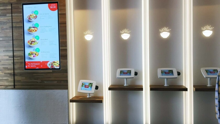 The ordering wall at Eatsa is a series of iPads.