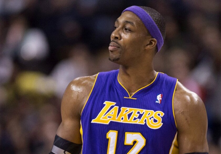 Lakers center Dwight Howard looks at the referee after being ejected from the game against the Raptors.