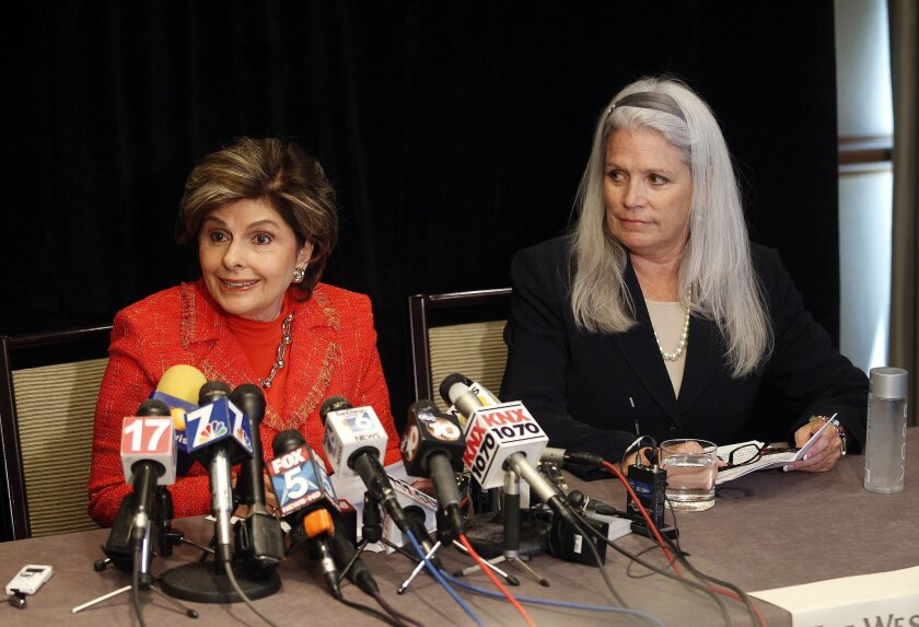 Attorney Gloria Allred brought Irene McCormack Jackson, formerly director of communications for the mayor, to  a press conference at the Westin Hotel.