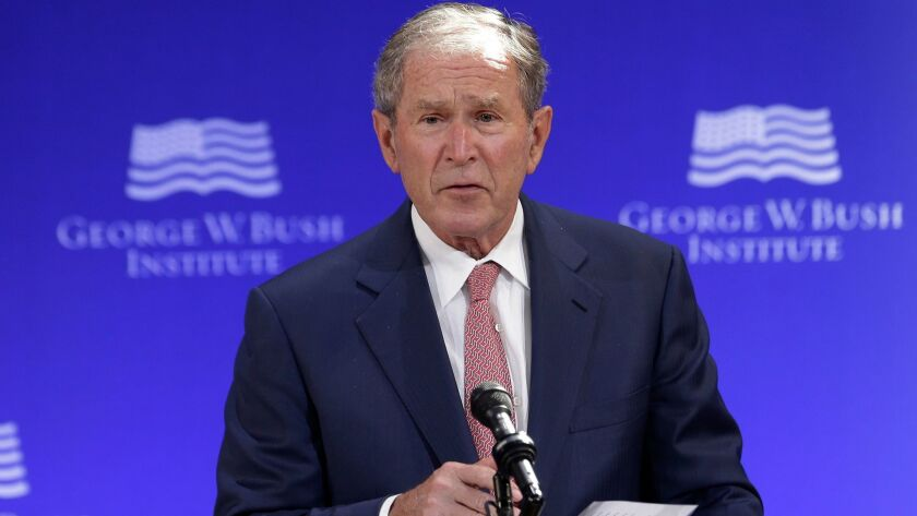 President George W. Bush speaks at a forum on Oct. 19, 2017.