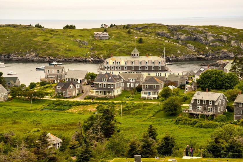 Cemetery, Island Inn and Manana Island, Monhegan Island, Maine.