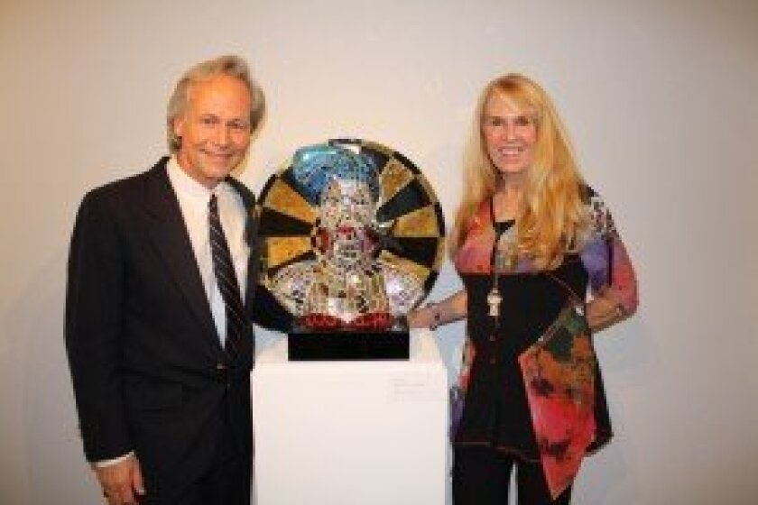 Oceanside Museum of Art Executive Director Daniel Foster with artist Jean Wells. Courtesy of OMA