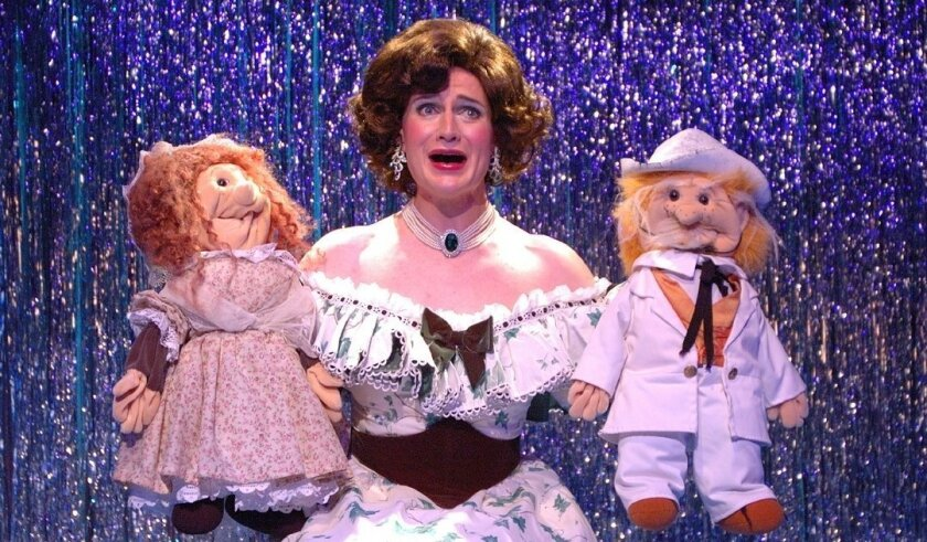 """David McBean as Miss Deep South in Cygnet Theatre's """"Pageant."""""""