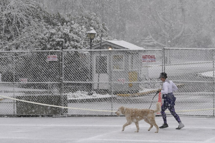 A person jogs with a dog as snow falls, Thursday, Feb. 11, 2021, next to security fencing at the Capitol in Olympia, Wash. Winter weather is expected throughout the Seattle region through the weekend. (AP Photo/Ted S. Warren)