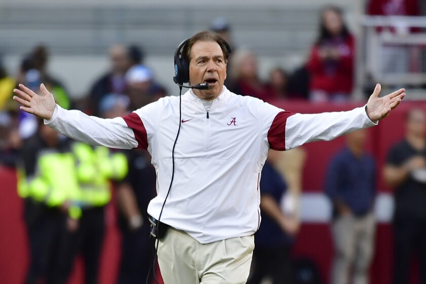 FILE - In this Nov. 9, 2019, file photo, Alabama coach Nick Saban reacts during the first half of the team's NCAA college football game against LSU in Tuscaloosa, Ala. Alabama allowed 18.6 points per game nationally last season, good enough for 13th nationally. But it's still the most the Tide has given up since 2007, Saban's first year in Tuscaloosa. (AP Photo/Vasha Hunt, File)