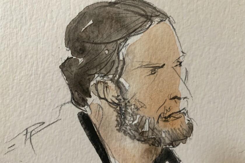 Courtroom sketch of terrorism trial defendant Salah Abdeslam
