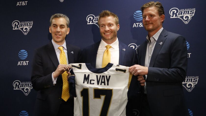 THOUSAND OAKS, CA - JANUARY 13, 2017 - Sean McVay, center, the youngest coach in NFL history poses w