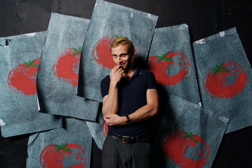"Derek Chariton plays Andy Warhol at age 18 in Pacific Resident Theatre's production of ""Andy Warhol's Tomato"" in Venice."