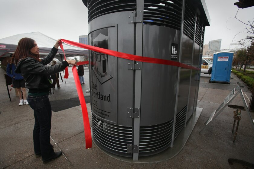 Several civic groups celebrated the installation of a Portland Loo downtown earlier this month with a ribbon-cutting ceremony. The Portland Loo is a specially designed vandalism-proof public restroom created for high traffic urban areas.