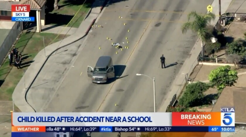 An 8-year-old boy was killed Monday, and two others were injured when they were struck by a van while walking to an elementary school in Oxnard.