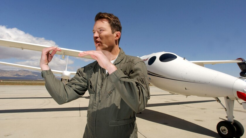 Mike Alsbury, photographed on April 3, 2003, was killed in a Virgin Galactic test flight that crashed Friday.