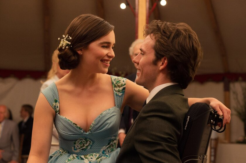 """This image released by Warner Bros. Entertainment shows Emilia Clarke, left, and Sam Claflin in a scene from """"Me Before You."""" (Alex Bailey/Warner Bros. Entertainment via AP)"""