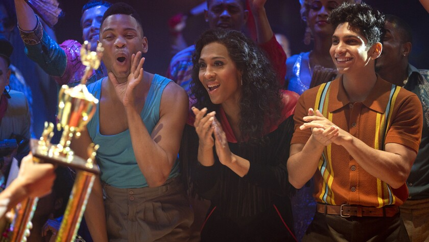 "Ryan Jamaal Swain, left, Mj Rodriguez and Angel Bismark Curiel in ""Pose"" on FX."