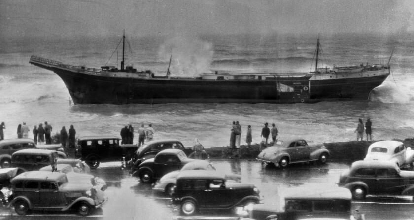 Beached ship after 1939 tropical storm