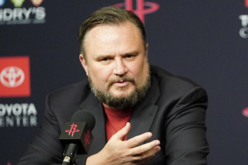 Houston Rockets general manager Daryl Morey speaks during a news conference.