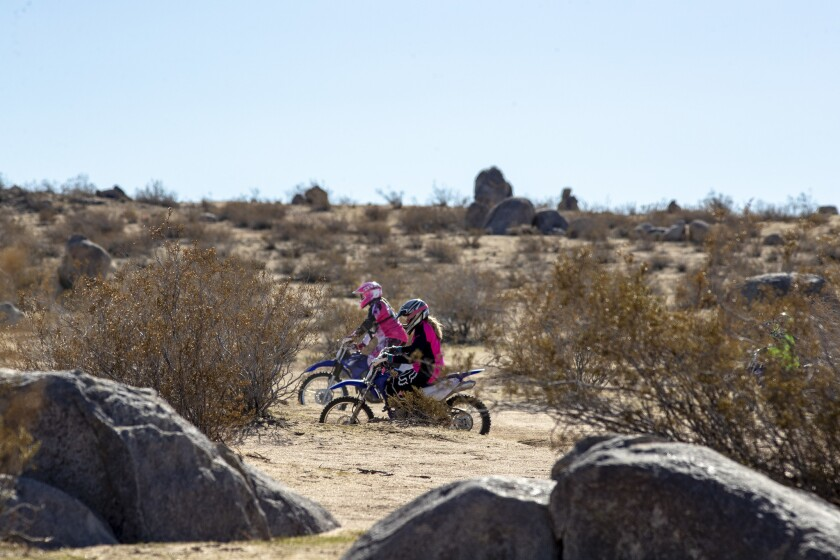 RIDGECREST, CALIF. -- MONDAY, FEBRUARY 18, 2019: Motorcyclists ride in the Spangler Hills Off-Highwa