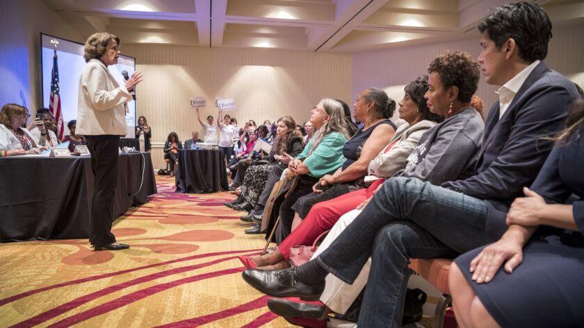 OAKLAND, CA JULY 14, 2018 -- Senator Dianne Feinstein speaks as her challenger Kevin de Leon looks o