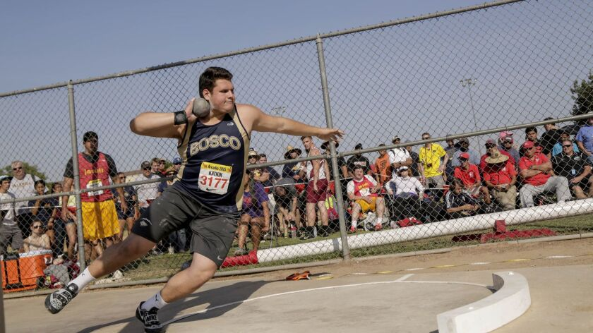 Matt Katnick destroys the shot put competition during the Arcadia Invitational at Arcadia High Schoo