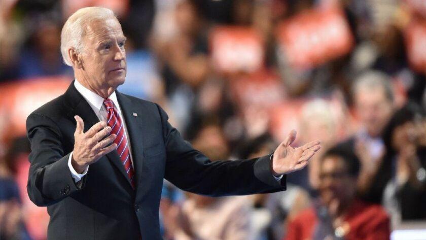 Then-Vice President Joe Biden speaks at the Democratic National Convention in Philadelphia on July 27, 2016.