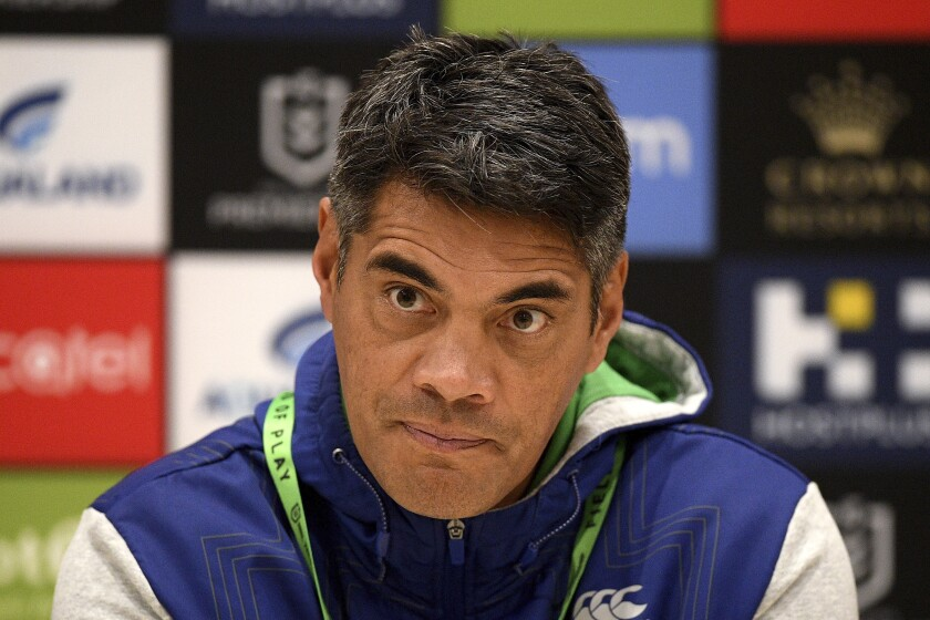 Warriors coach Stephen Kearney speaks during a press conference following the the Round 6 NRL match between the South Sydney Rabbitohs and the New Zealand Warriors at Bankwest Stadium in Sydney, Friday, June 19, 2020. The New Zealand Warriors have fired coach Kearney while the players and staff are in long-term camp in Australia competing in the National Rugby League during the coronavirus pandemic.(Dan Himbrechts/AAP Image via AP)