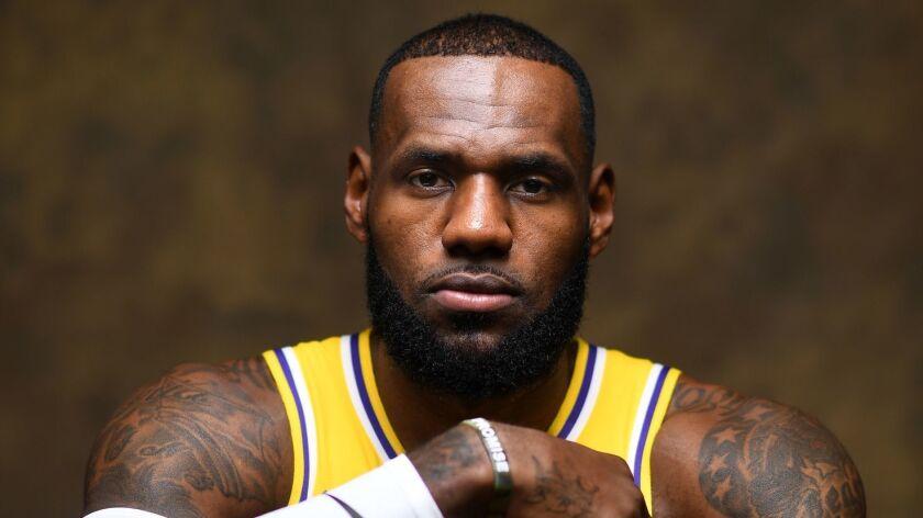 EL SEGUNDO, CALIFORNIA SEPTEMBER 24, 2018-Lakers LeBron James. (Wally SKalij/Los Angeles Times)