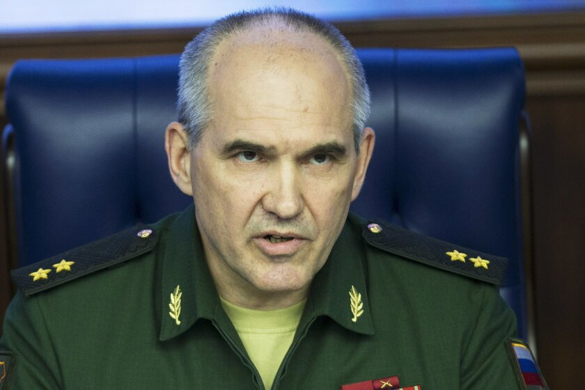 Lt.-Gen. Sergei Rudskoi of the Russian Military General Staff, speaks to the media in Moscow, Russia, Friday, May 27, 2016. Rudskoi said Washington's refusal to jointly fight al-Qaida's branch in Syria has contributed to the escalation of fighting. (AP Photo/Pavel Golovkin)
