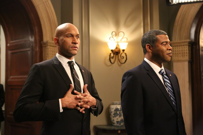 "Keegan-Michael Key, left, and Jordan  Peele in ""Key & Peele"" on Comedy Central."