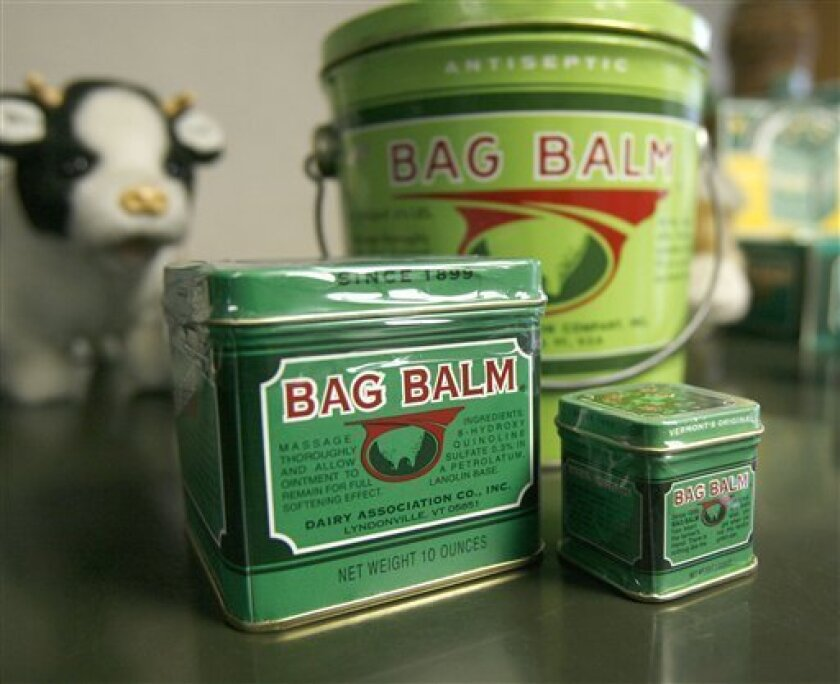 In this photo taken Wednesday, Jan. 27, 2010, Bag Balm products are seen in Lyndonville, Vt. (AP Photo/Toby Talbot)