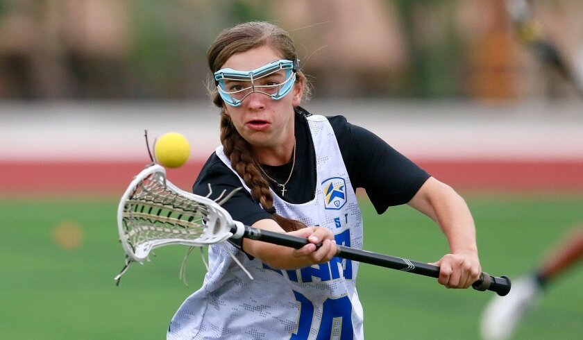 Skyler Johnson, who scored 34 goals as a freshman last season for San Marcos, has a virtual lacrosse obstacle course in her backyard to help with training.