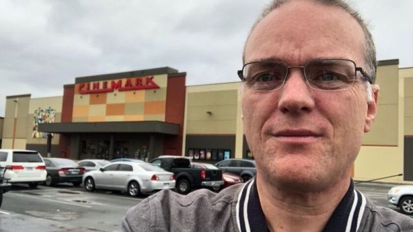 Cinephile and writer Noel Murray stands in front of the only ten-screen Cinemark in Conway Arkansas, a college town with a population of about 60,000.