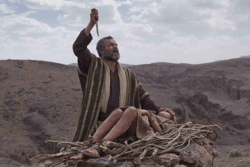 "A scene from ""The Bible,"" the 10-hour, five-part docudrama that aired on the History channel in 2012. Above: Abraham (Gary Oliver) prepares Isaac (Hugo Rossi) for the sacrifice."