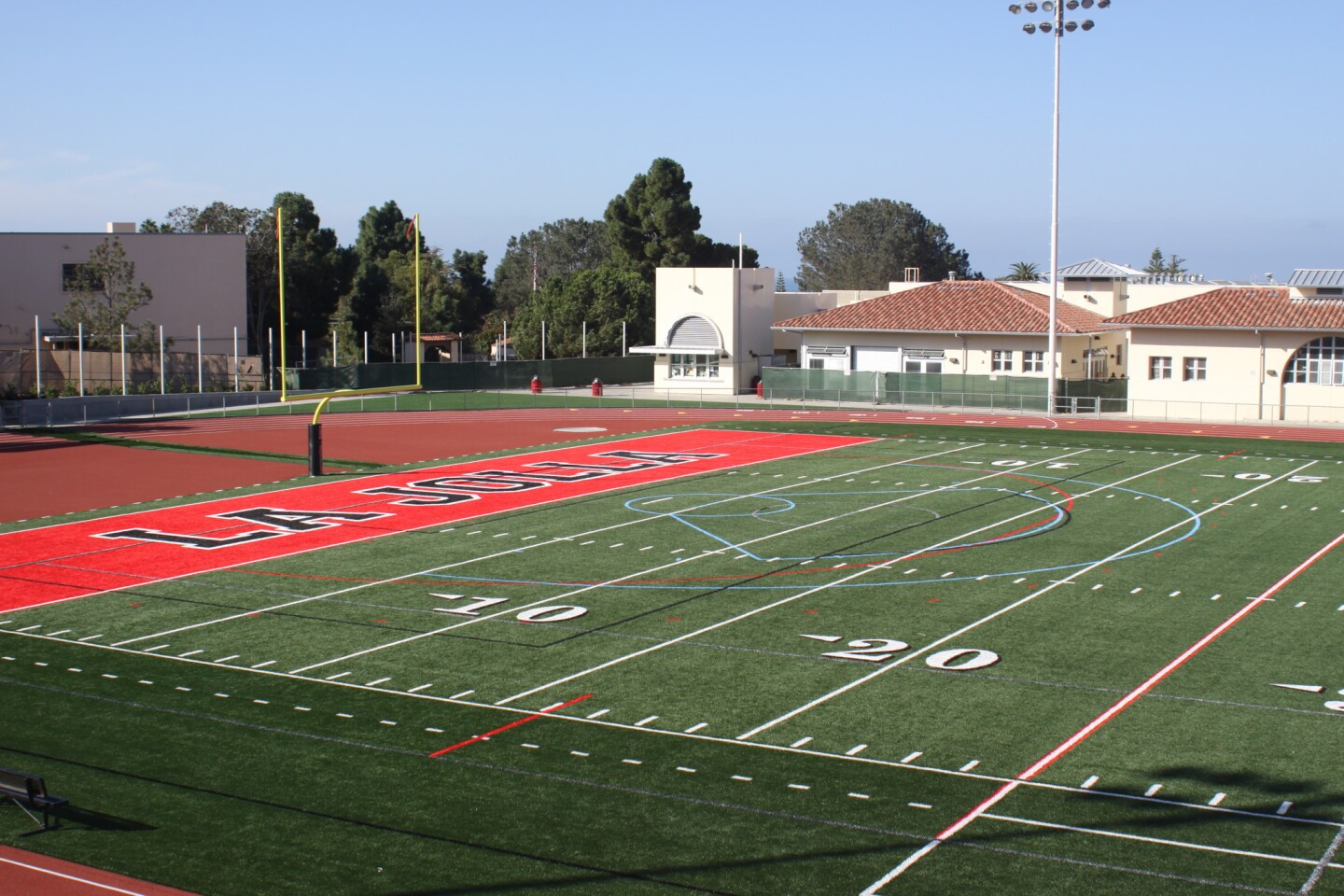 The new field is painted with lines related to different sports, such as lacross and field hockey.