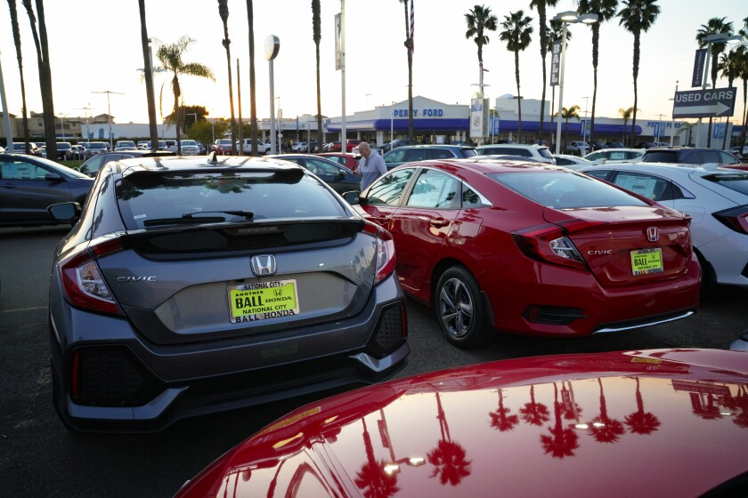 New cars on lot at Ball Honda in National City