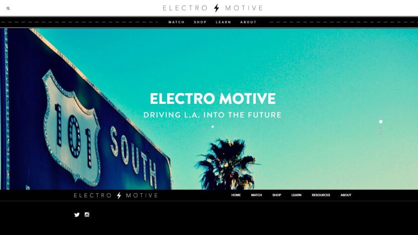 The home page for ElectroMotiveLA, a website that focuses on electric cars.