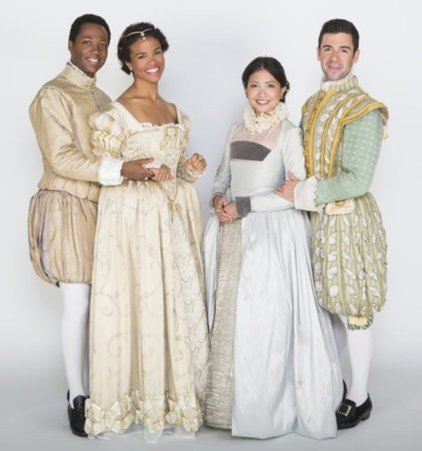 Hubert Point-Du Jour (Valentine), Britney Coleman (Silvia), Kristin Villanueva (Julia) and Adam Kantor (Proteus) star in Shakespeare's 'The Two Gentlemen of Verona' at The Old globe Theatre. Jim Cox