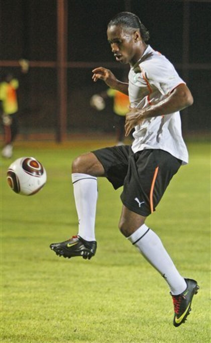Ivory Coast's Didier Drogba attends a training session during the African Cup of Nations Group B, in Cabinda, Angola, Wednesday, Jan. 13, 2010. (AP Photo/Darko Bandic)
