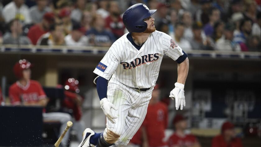Cory Spangenberg hits a solo home run in the seventh inning Wednesday night against the Angels.