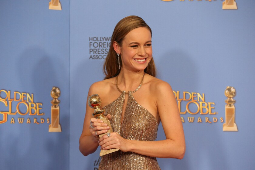 Brie Larson in the pressroom at the 73rd Golden Globe Awards.