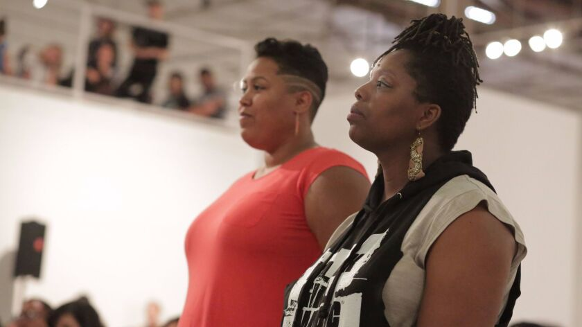 Artists Tanya Lucia Bernard and Patrisse Cullors at a Black Lives Matter event at MOCA in July.