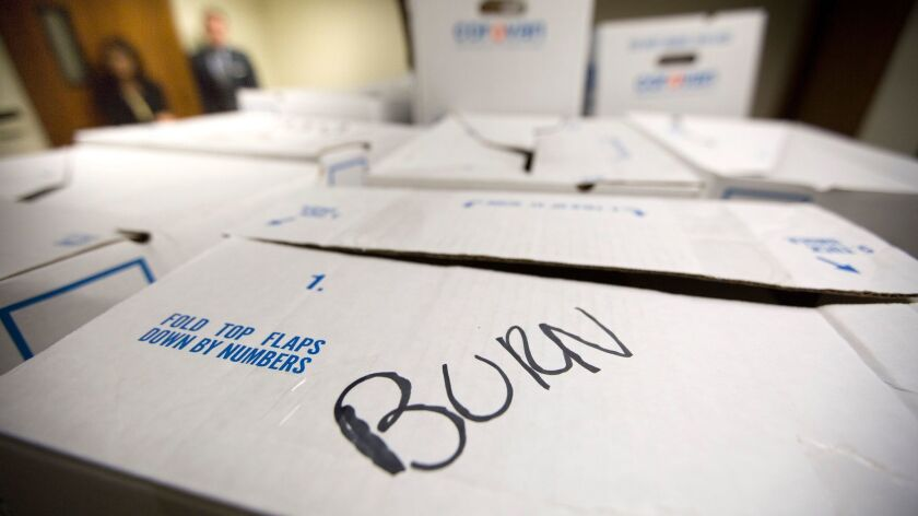 Boxes of files belonging to former L.A. City Councilman Tom LaBonge, marked for destruction, were made available to the public at Los Angeles City Hall in 2016.