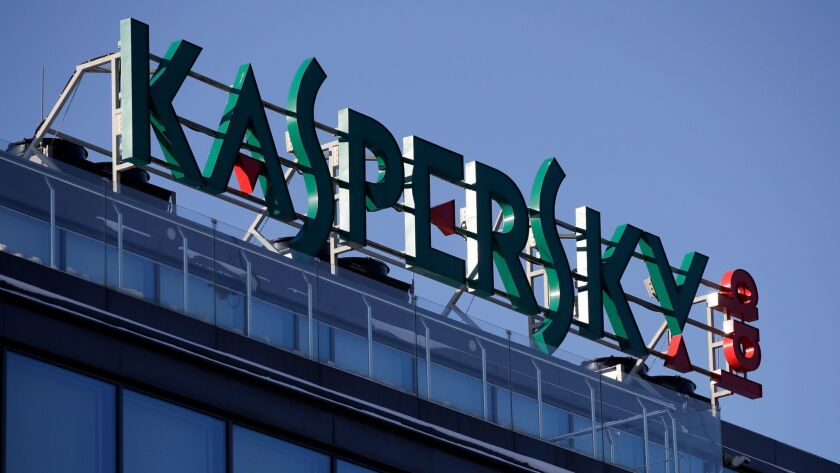 FILE - This Monday, Jan. 30, 2017, file photo shows a sign above the headquarters of Kaspersky Lab i