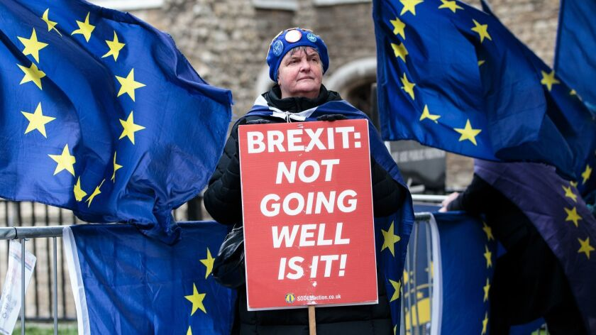 Leave And Remain Demonstrators Protest Ahead Of No Deal Vote