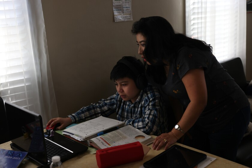 A mother assists her soon working at computer