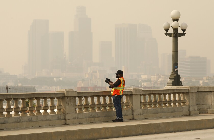 Smoke and ash from the Bobcat fire continue to blanket the Los Angeles region.