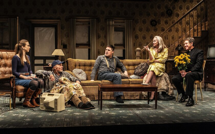"In this image released by The New Group, Taissa Farmiga, from left, Ed Harris, Rich Sommer, Amy Madigan and Larry Pine appear in a scene from Sam Shepard's ""Buried Child,"" in New York.   (Monique Carboni/The New Group via AP)"